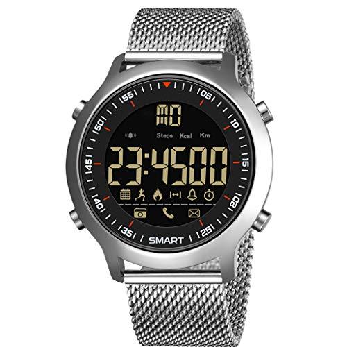 Huacat Herrenuhr Edelstahl Metallgitterband Smart Klettern Sport wasserdichte Uhr Austauschbares Lederband Wasserdicht Multifunktions Armbanduhr Metall Armband