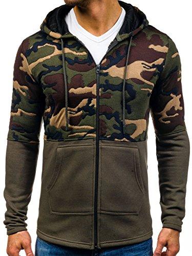 BOLF Herren Kapuzenpullover Sweatjacke Sweatshirt Camo Military Hoodie 1A1 Grün