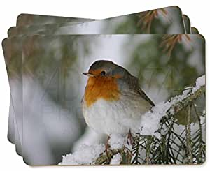 Robin Red Breast in Snow Tree Picture Placemats in Gift Box