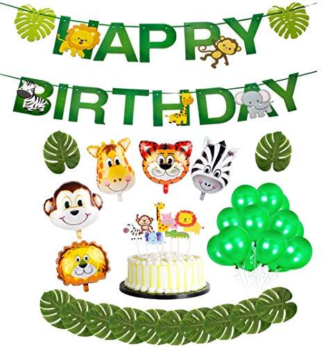 ReNice 37 Stück Dschungel Geburtstag Party Deko- Tiere Happy Birthday Banner, Cake Toppers,Tropische Blätter,Folienballon Tier und Luftballons für Kindergeburtstag Hochzeit Baby Shower -