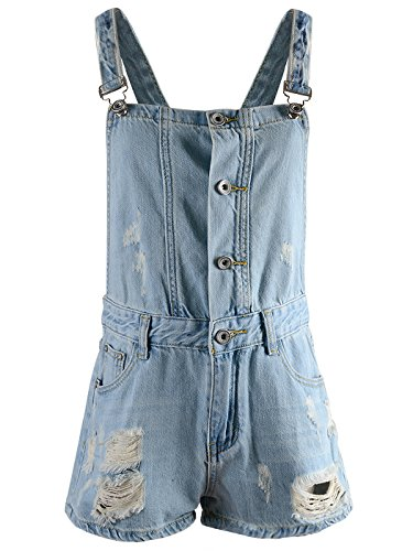 Anna-Kaci Damen Denim Blau Distressed Buttom Knopf Loch Jumpsuits kurze Latzhose Overalls Jeans Shorts