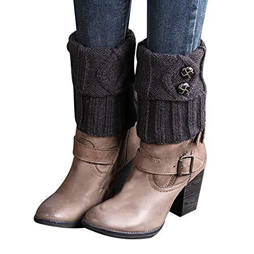 äRmer Kurze Stiefelsocken Winter Beinstulpen HäKeln Stiefelstulpe Knopf Boot Abdeckung Stiefelsocken Stulpen (Dunkelgrau) ()