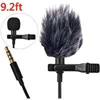 Lavalier Lapel Microphone Mic Clip-on Mic with Jack Adapter for iPhone, Android, Camera, DSLR, PC, Laptop, Youtube