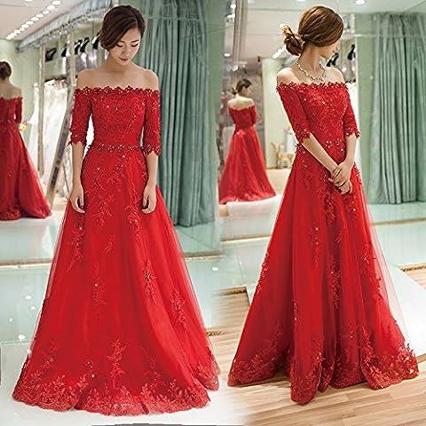 Il rosso a maniche corte sezione cena abiti da damigella abito da sposa brindisi lungo (Brindisi Sposa Sposo)