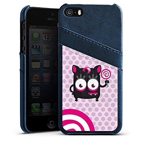 Apple iPhone 5s Housse étui coque protection Yeux Yeux Spirale Étui en cuir bleu marine