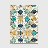 LANDENG Tapis Style Maroc Vintage, Tapis Design à Carreaux Bleus et Jaunes, Tapis...