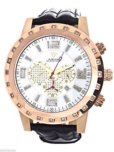 Aqua Master de hombre Rose tono dorado caso diamante bisel negro correa de cuero para cronógrafo reloj W138