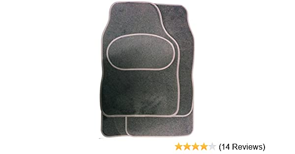Extra Strong For Skoda Luxury Bound Edges Set Of Silver Black Mats Carpet