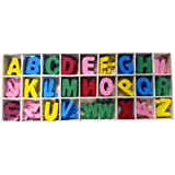 CraftDev Colorful Wooden Alphabets Set (5 Pcs Each) Letters For Art And Craft Purpose (MULTI COLOR)