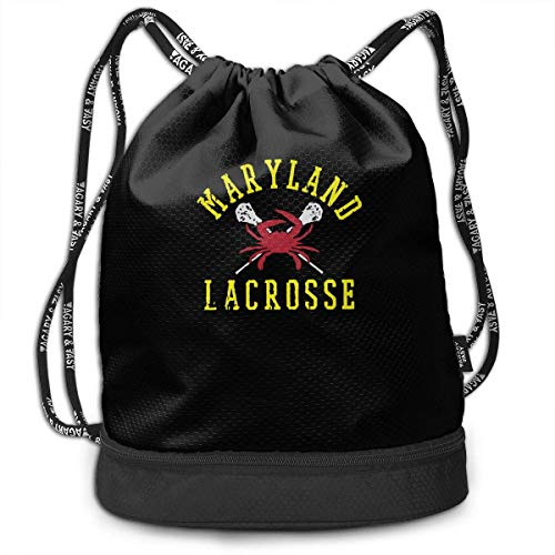 ewtretr Turnbeutel Hipster Sporttaschen Unisex Drawstring Backpack, Maryland Crab Lacrosse Lightweight 100% Polyester Sports Sackpack for Men and Women Lacrosse Zip