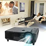 leshp proyector 2000lumens LED Multimedia cine en casa Mini Proyector 1080p HD LCD portátil vídeo proyector Soporta USB/SD/AV/HDMI/VGA para teléfono, Laptop, PC, Playstation