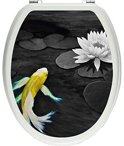 Pixxprint 3D_WCs_7642_32x40 wunderschönes Gemälde eines Koi mit Seerose als Toilettendeckel Aufkleber, WC, Klodeckel, gläzendes Material, schwarz/weiß, 40 x 32 cm - Wc Koi