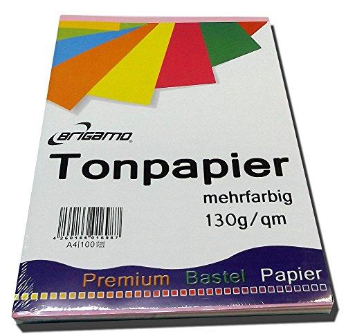 200 Blatt Tonpapier Bastelpapier A4 Farbig Sortiert 130 g / qm - 2