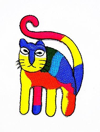 Ein Nähen Tragen Sie Kostüm (rabana tragen Katze colurfull Cartoon Kids Kinder Cute Animal Patch für Heimwerker-Applikation Eisen auf Patch T Shirt Patch Sew Iron on gesticktes Badge Schild)