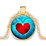 HDCooL Vintage Cabochon Glass Necklaces Time Gem Dangle Long Zelda Pendant Sweater Chain Birthday Gift for Girls N04