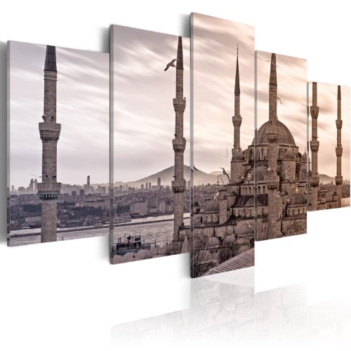 Bilder 200x100 cm - XXL Format - Fertig Aufgespannt - TOP - Vlies Leinwand - 5 Teilig - Wand Bild - Kunstdruck - Wandbild - Stadt Türkei Istanbul 030102-11 200x100 cm B&D XXL
