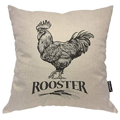 odin sky Rooster Pillows Vintage Farm Animal Geflügel Hahn Huhn Weizen Dekokissen Abdeckung Dekorative Kissenbezug Platz Kissen Akzent Baumwolle Home Beige, 45x45 cm -