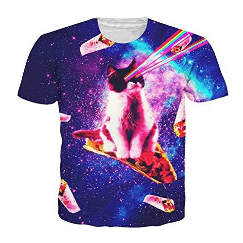 HhGold Gato Gatito Camiseta 3D Unisex Pizza Kitty Galaxy Camisetas Top de Verano Camiseta (Color : Pizza Cat T Shirt, tamaño : Medium)