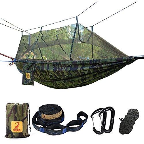 Hamac de Voyage Camping, Hamac Moustiquaire, Double Hammock 300KG, Léger 300 x 180 cm Respirante à...