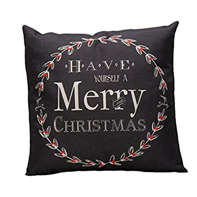 Bluester Vintage Christmas Letter Sofa Bed Home Decoration Festival Pillow Case Cushion Cover - cheap UK light store.