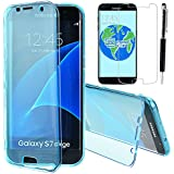 GrandEver Coque Silicone pour Samsung Galaxy S7 Edge Housse TPU Flexible Souple Doux Case Intégral Rabat écran Etui Protecteur Pare Chocs Case Coque Transparent Haute Qualite Caoutchouc Cas + Stylet d'Ecran Tactile + Film Protection --- Bleu clair