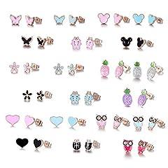Idea Regalo - Acciaio inossidabile placcato oro rosa colore misto carino ananas mouse Love Parrot coccinella orecchini set, acciaio inossidabile, colore: 21 pairs black pink bule, cod. HYZ-ED -MGJ 21-1