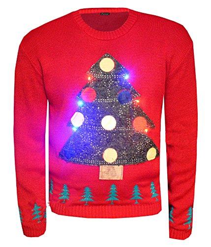 Fast Fashion Frauen Jumper Langen Ärmeln Weihnachtsbaum Led Licht Xmas Neuheit