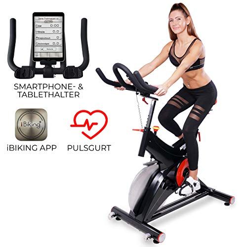 Miweba Sports Profi Indoor Cycling Bike MS500 Ergometer Heimtrainer - 25 Kg Schwungmasse - Pulsgurt - Filzbremse - Tablethalterung