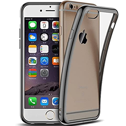 Coque iPhone 6S / 6, Coodio Chrome Placage Bumper Case [Absorption de Choc] Housse Etui Coque arriere transparente en TPU Silicone Coque Pour iPhone 6S / 6 - Jet Noir
