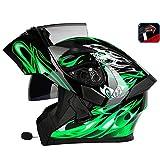 OUTO Aufdeckender Sturzhelm-Motorrad-LED Rücklicht-warnender roter Bluetooth Kopfhörer HD Anti-Nebel Spiegel-voller Gesichts-Sturzhelm kühle Persönlichkeit (Farbe : Black Green Devil, größe : XL)