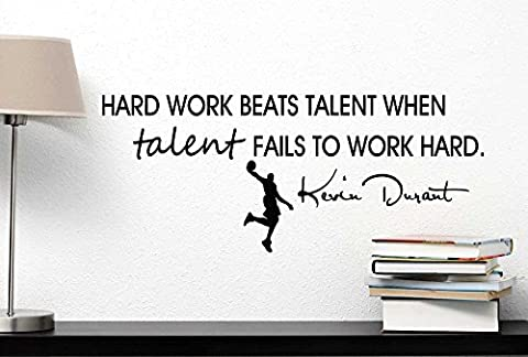 Hard work beats talent when talent fails to work hard cute Wall Vinyl Decal kevin durant inspired Quote Art Saying Lettering stencil Sticker decoration by Ideogram Designs