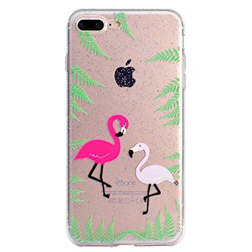 Coque pour iPhone 8 Plus,Silicone Étui pour iPhone 7 Plus,Leeook Créatif Paillettes Brillante Chat Lune Désign Ultra Mince Transparent Crystal Clear Flex TPU Doux Housse Etui de Protection Coque Coqui Flamingo