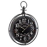 Orologio in metallo - Diametro 60 cm - A forma di orologio da taschino - Colore: NERO