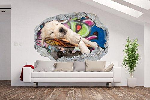 Vlies Fototapete / Poster XXL /3D Wandillusion /Loch in der Wand *Skateboard Puppy*
