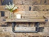 Wandregal im urbanen Industrie-Stil mit Eisenrohr-Wandhalterung, Breite 60 cm