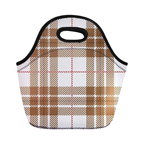 Lunch Bag Tote Boxes Bags Lunch Box Beige Abstract White and Brown Tartan Plaid Scottish Pattern Neoprene Lunch Tote Bag Portable Picnic Bag Cooler Bag -