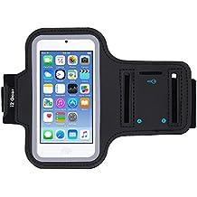iPod Touch 6ª generación (6G) ejercicio y corriendo MP3 reproductor - Brazalete con titular de la clave y banda reflectante Negro