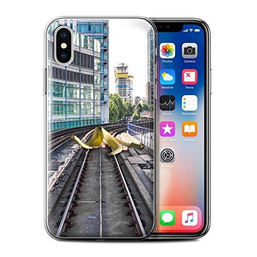 Stuff4 Gel TPU Hülle / Case für Apple iPhone X/10 / Londons Brenn Muster / Vorstellen Kollektion Rutschigen Strecken