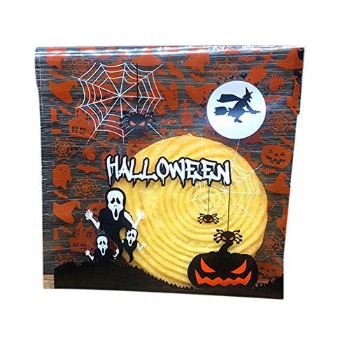 (Selbstklebende Halloween-Beutel für Kekse, Bäckerei, Süßigkeiten von Youkara, Geschenktüten aus Kunststoff, Kürbis-Designs, 100 Stück)