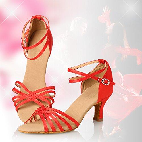 APTRO Damen Ballsaal Latin Tanzen Rot Sandalen 37.5(Asia 38) - 6