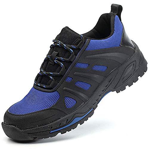 SUADEEX Arbeitsschuhe Herren Stahlkappe Damen Sicherheitsschuhe Leicht Atmungsaktiv Schutzschuhe Sportlich Turnschuhe Trekking Schuhe Traillaufschuhe, A-blau, Gr. 41 EU