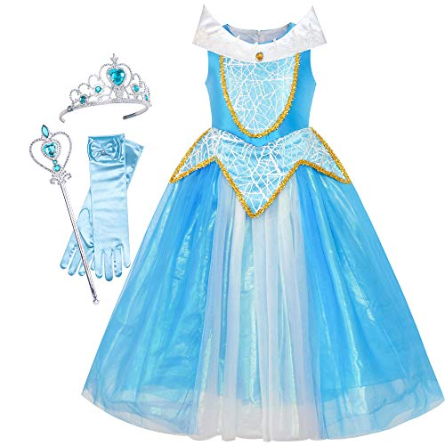 Sunboree Prinzessin Aurora Kostüm Briar Rose Zubehör Krone Zauber Zauberstab Gr. 122