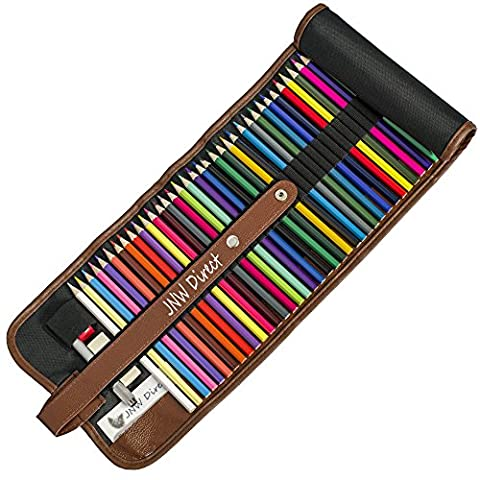 Buntstifte, 48 hochwertige farbige Bleistifte inklusive Leinwand-Etui und Zubehör. JNW