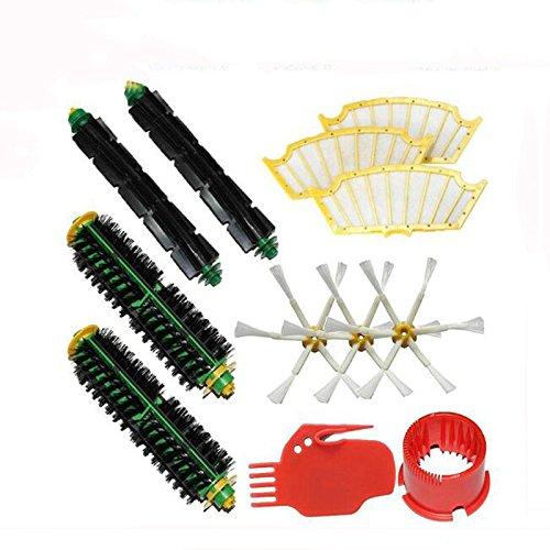Ersatzteile für iRobot Roomba 500 Serie 500 510 527 530 535 540 560 570 580 Staubsauger 2 Stück Borstenbürste + 2 Stück Flexible Beater + 3 Seitenbürsten 6-armig + 3 Stück Gelbe Filter + 2 Saubere Werkzeuge (Die Peak-6000)