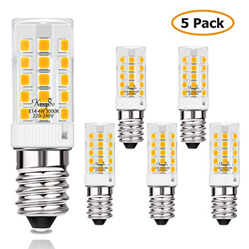 KINGSO E14 LED Lampe 4w 450lm Warmweiss Ersatz für40WHalogenlampen LED Leuchtmittel 230V 3000K für Kühlschrank, Nähmaschine, Nachttischlampe, Dunstabzugshaube 5er Pack Nicht Dimmbar - Moderne Sage-galerie