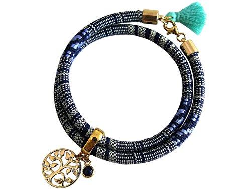 Gemshine - Damen - Armband - Wickelarmband - Vergoldet - Lebensbaum - AZTEC - Saphir - ()