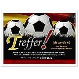 Geburtstagseinladungen für Erwachsene lustig witzig 20 30 40 50 66 jedes Alter - Wunschtext Fußball Kicker Fans und Freunde - Fußball Deutschland, 40 Karten - 21 x 14,8 cm DIN A5