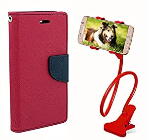 Aart Fancy Diary Card Wallet Flip Case Back Cover For Lenovo A6000 - (Pink) + 360 Rotating Bed Tablet Moblie Phone Holder Universal Car Holder Stand Lazy Bed Desktop for by Aart store.