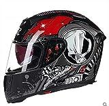 Off-Roady Casco de Moto Casco de Moto Modular con Visera Interior Casco de Seguridad con Lente Doble Racing Cara Completa Black Red M