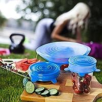 GUUVOR Tapas De Silicona Elástica Protectoras para Alimentos 6 Paquetes De Varios Tamaños De Silicona Ajustables Cocina - Sin BPA, Aptas para Lavavajillas, Microondas, Horno Y Congelador (Azul)